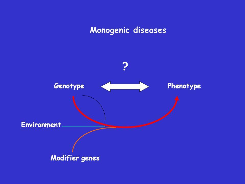 Monogenic diseases Genotype Phenotype Environment Modifier genes