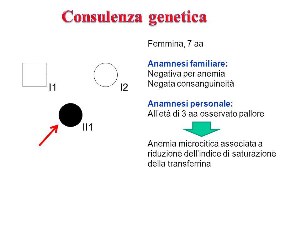 Consulenza genetica I1 I2 II1 Femmina, 7 aa Anamnesi familiare: