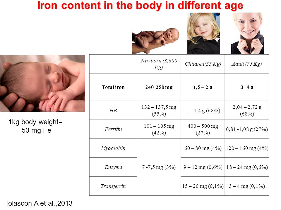 Iron content in the body in different age