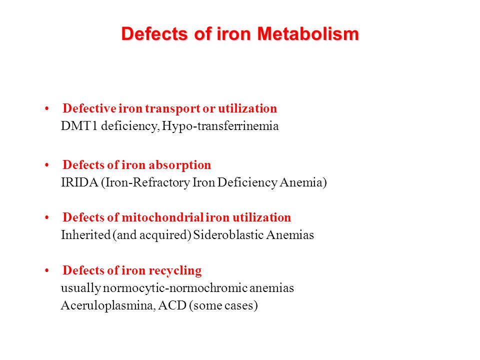 Defects of iron Metabolism