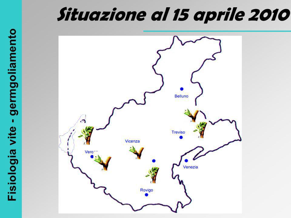 Situazione al 15 aprile 2010 Fisiologia vite - germgoliamento