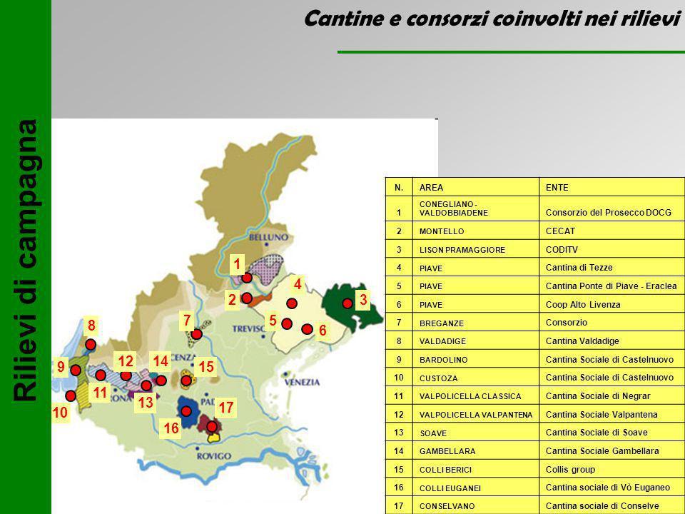 Rilievi di campagna Cantine e consorzi coinvolti nei rilievi 1 2 3 4 6