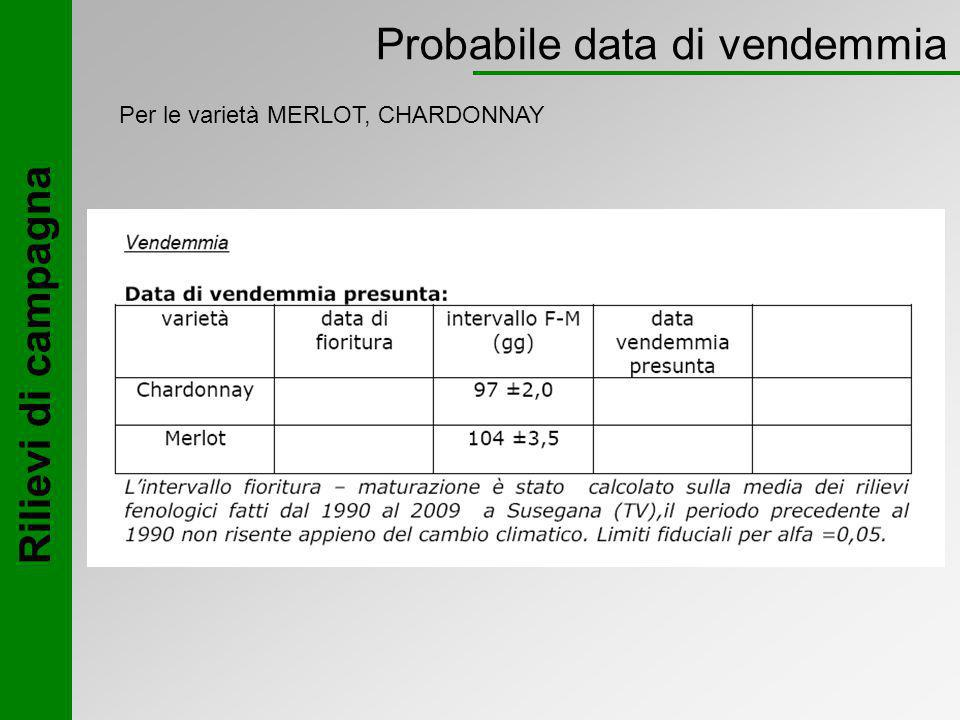 Probabile data di vendemmia