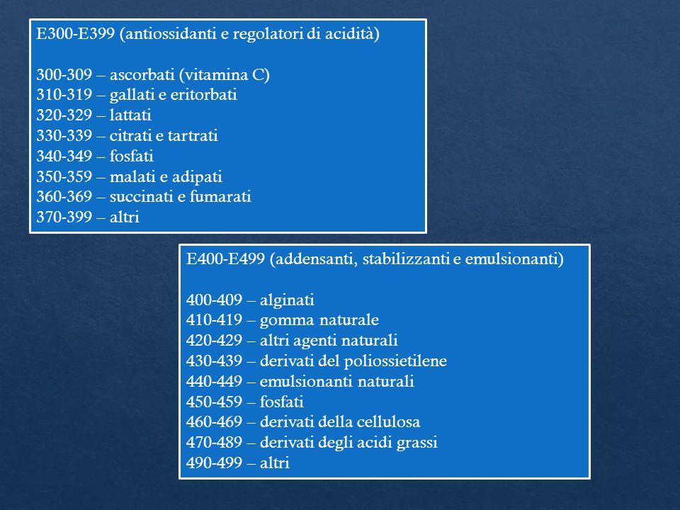 E300-E399 (antiossidanti e regolatori di acidità)