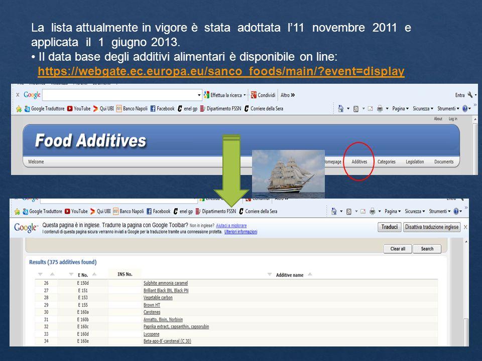 La lista attualmente in vigore è stata adottata l'11 novembre 2011 e applicata il 1 giugno 2013.