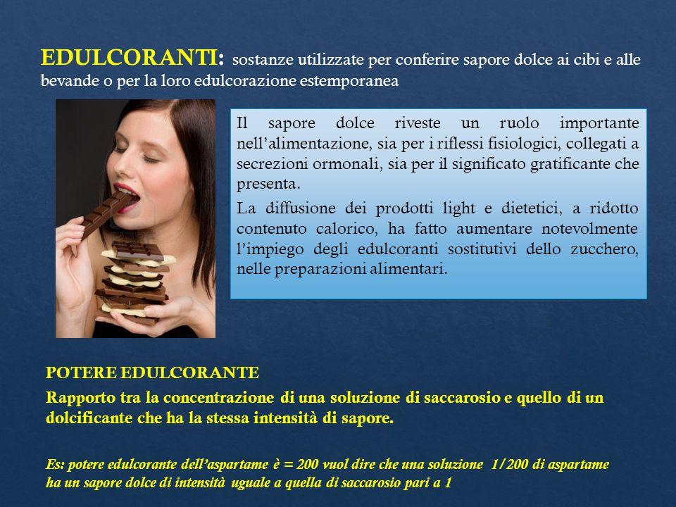 EDULCORANTI: sostanze utilizzate per conferire sapore dolce ai cibi e alle bevande o per la loro edulcorazione estemporanea