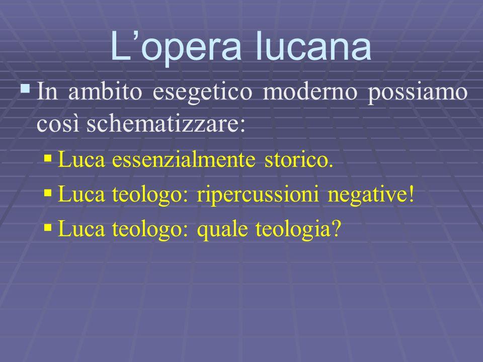 L'opera lucana In ambito esegetico moderno possiamo così schematizzare: Luca essenzialmente storico.