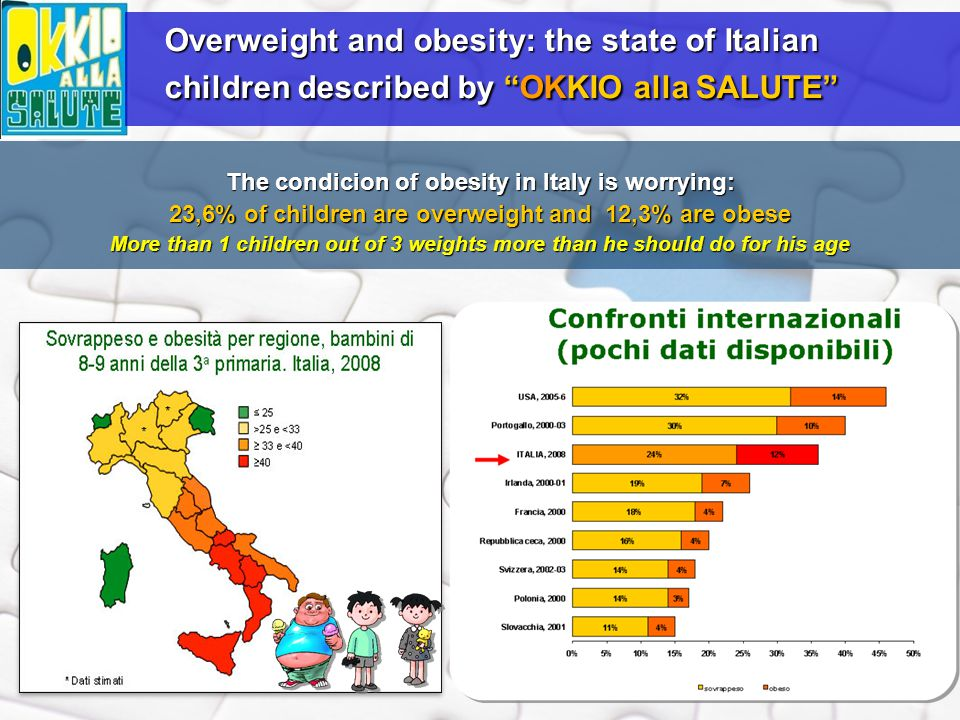 The condicion of obesity in Italy is worrying: