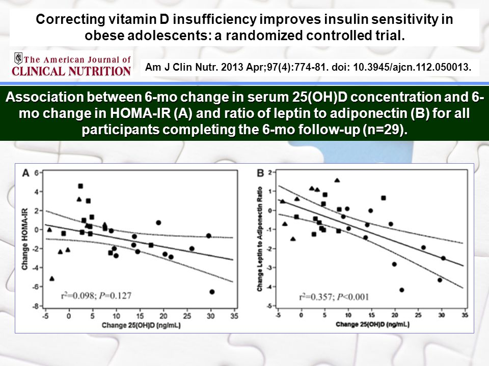 Correcting vitamin D insufficiency improves insulin sensitivity in obese adolescents: a randomized controlled trial.