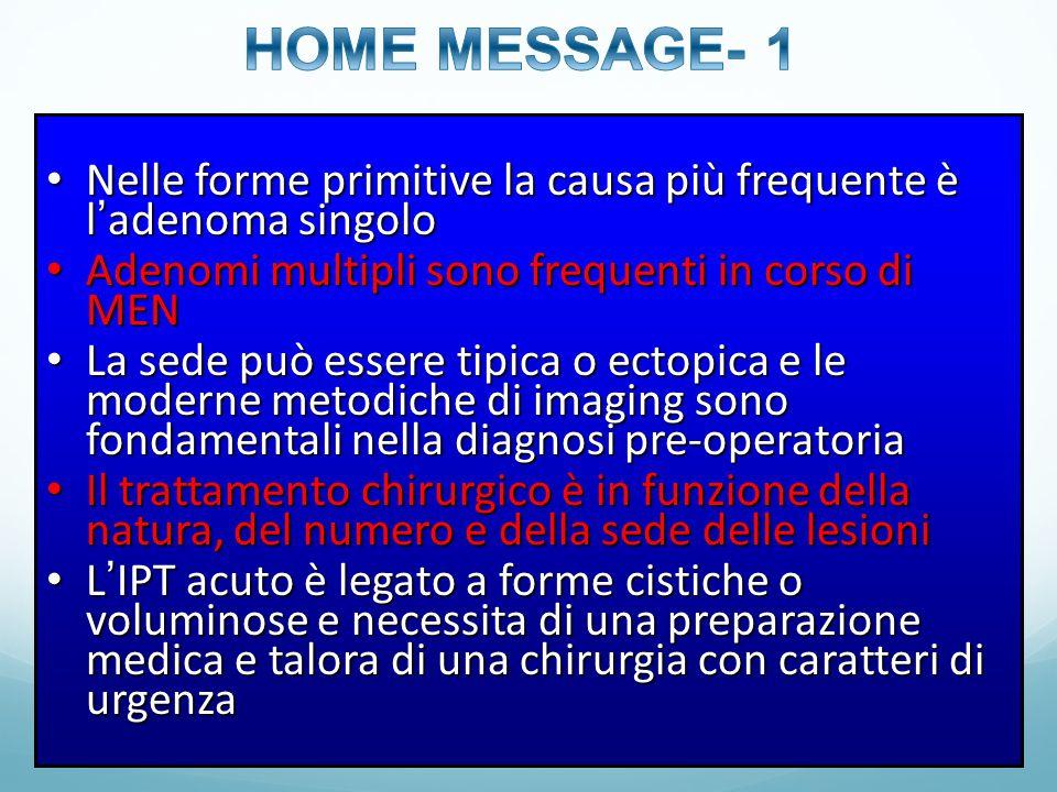 HOME MESSAGE- 1 Nelle forme primitive la causa più frequente è l'adenoma singolo. Adenomi multipli sono frequenti in corso di MEN.