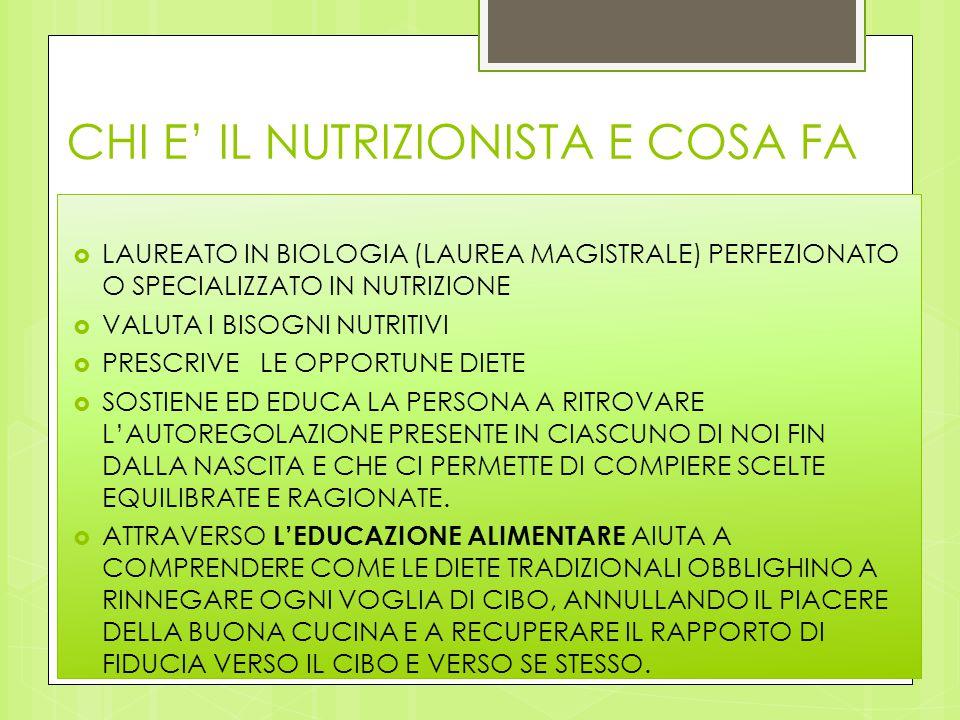 CHI E' IL NUTRIZIONISTA E COSA FA