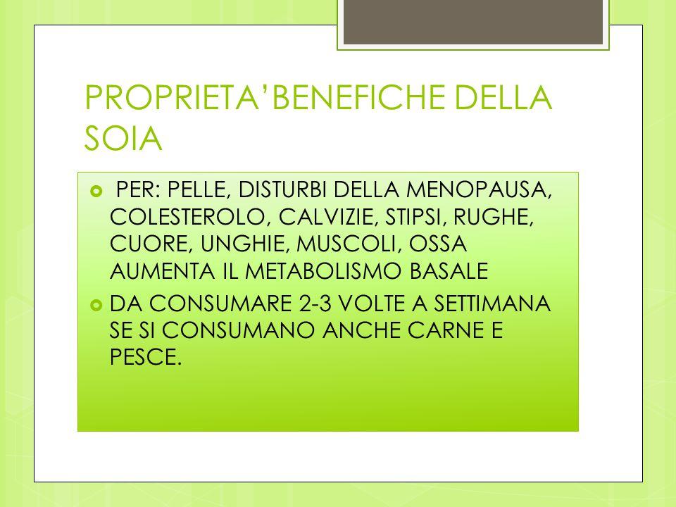 PROPRIETA'BENEFICHE DELLA SOIA