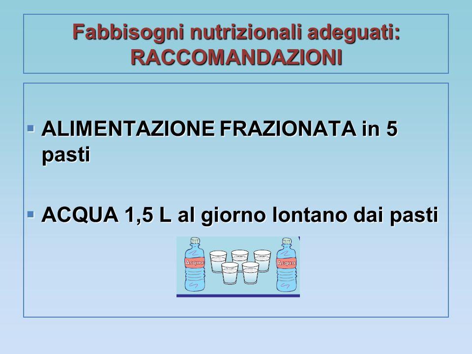 Fabbisogni nutrizionali adeguati: RACCOMANDAZIONI