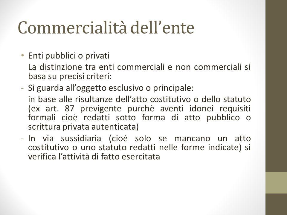 Commercialità dell'ente