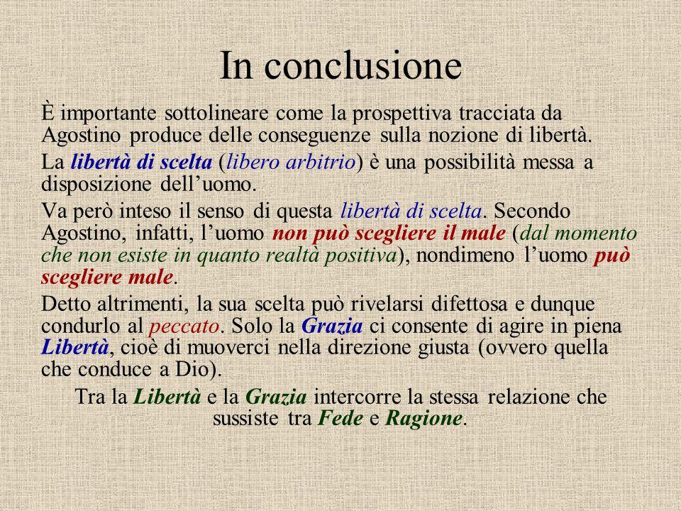In conclusione È importante sottolineare come la prospettiva tracciata da Agostino produce delle conseguenze sulla nozione di libertà.