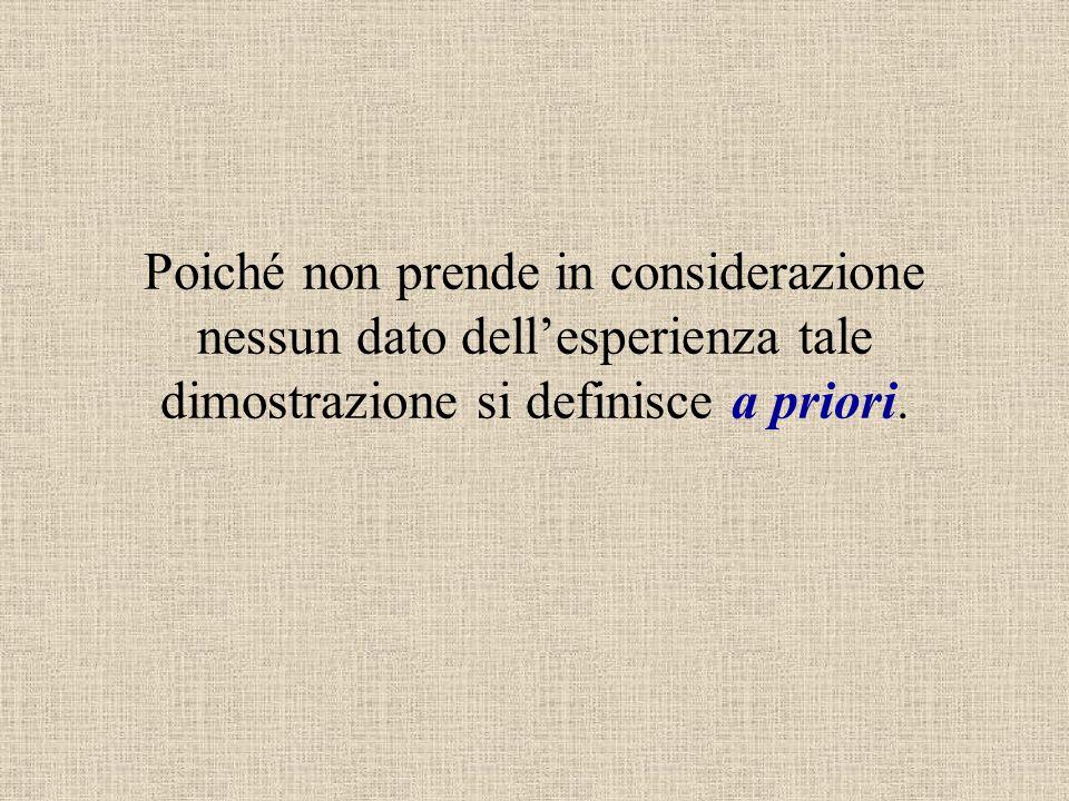 Poiché non prende in considerazione nessun dato dell'esperienza tale dimostrazione si definisce a priori.
