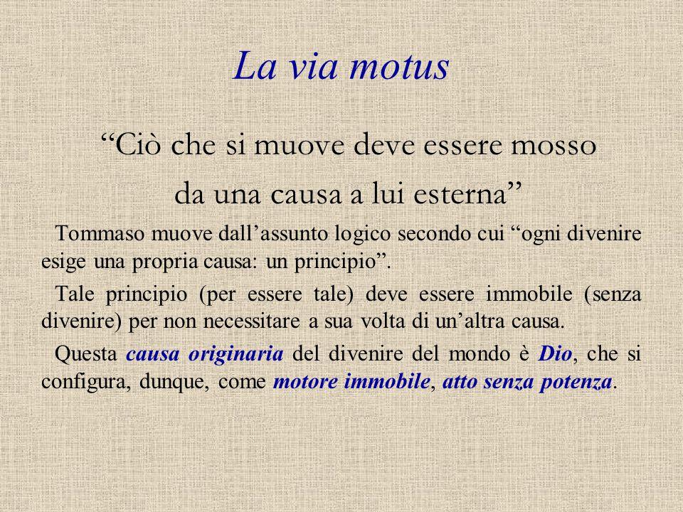 La via motus Ciò che si muove deve essere mosso