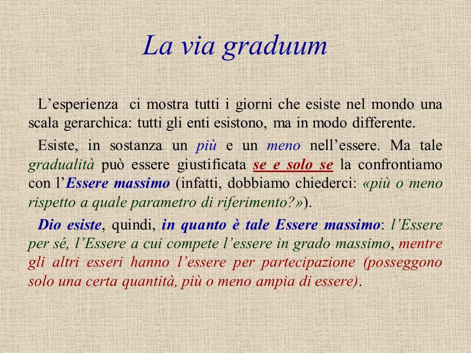 La via graduum L'esperienza ci mostra tutti i giorni che esiste nel mondo una scala gerarchica: tutti gli enti esistono, ma in modo differente.