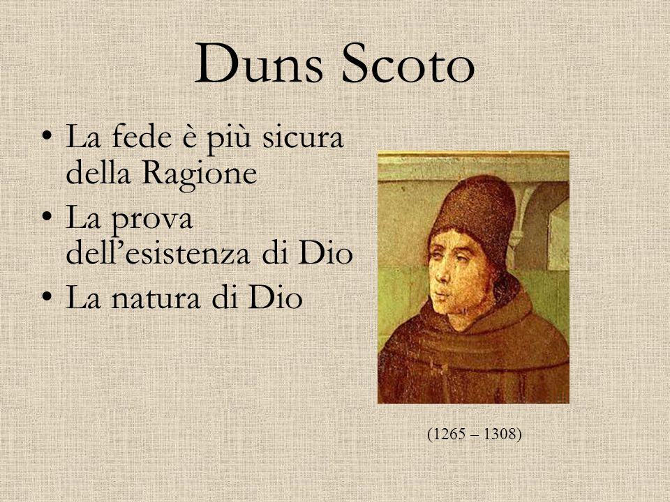 Duns Scoto La fede è più sicura della Ragione