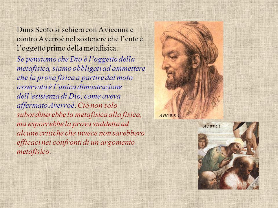 Avicenna Duns Scoto si schiera con Avicenna e contro Averroè nel sostenere che l'ente è l'oggetto primo della metafisica.