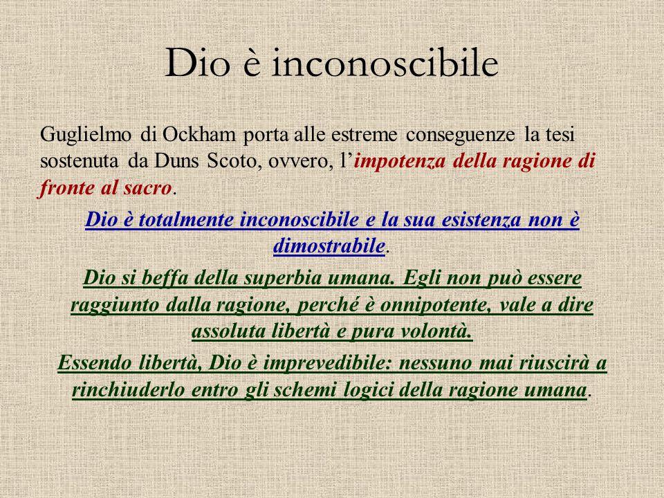 Dio è totalmente inconoscibile e la sua esistenza non è dimostrabile.