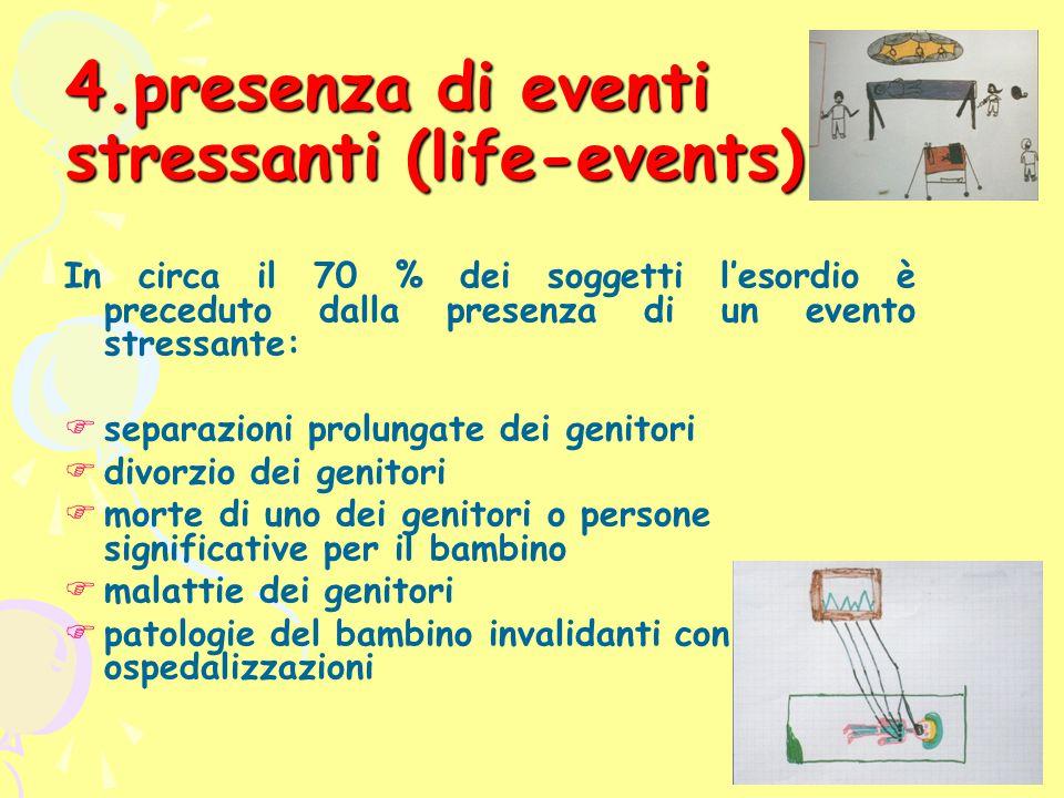 presenza di eventi stressanti (life-events)