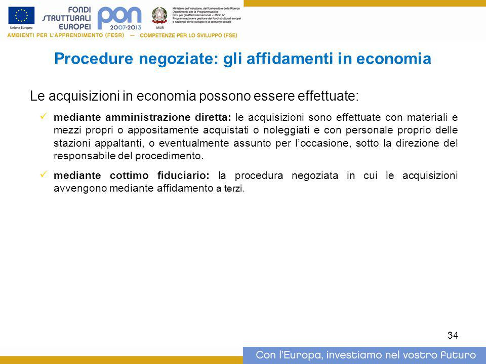 Procedure negoziate: gli affidamenti in economia