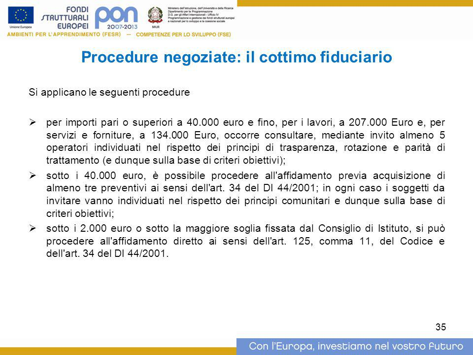 Procedure negoziate: il cottimo fiduciario