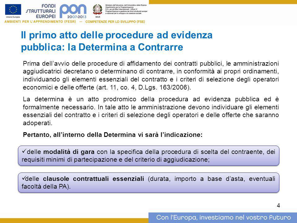 Il primo atto delle procedure ad evidenza pubblica: la Determina a Contrarre
