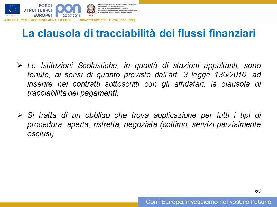 La clausola di tracciabilità dei flussi finanziari