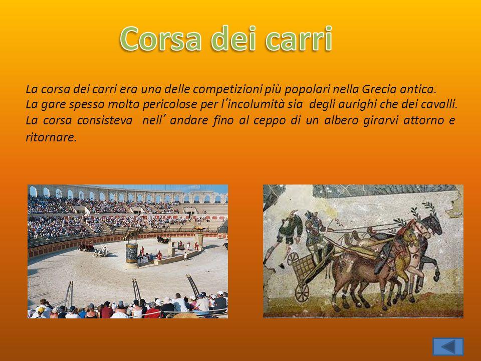 Corsa dei carri La corsa dei carri era una delle competizioni più popolari nella Grecia antica.
