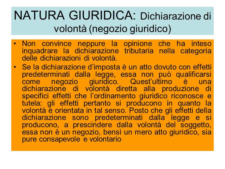 NATURA GIURIDICA: Dichiarazione di volontà (negozio giuridico)
