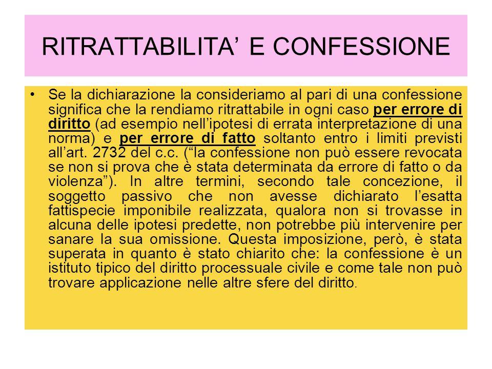 RITRATTABILITA' E CONFESSIONE
