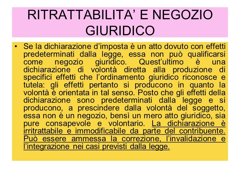 RITRATTABILITA' E NEGOZIO GIURIDICO