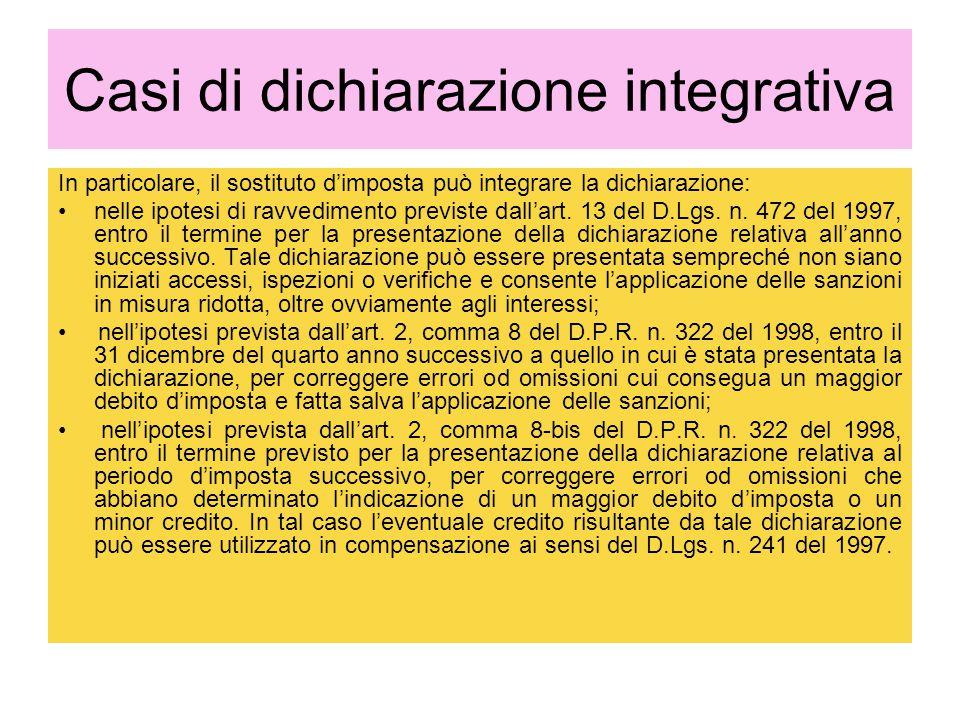 Casi di dichiarazione integrativa