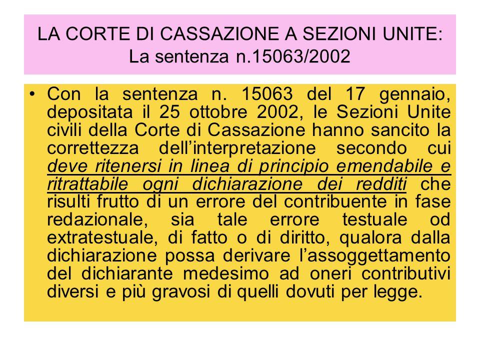 LA CORTE DI CASSAZIONE A SEZIONI UNITE: La sentenza n.15063/2002