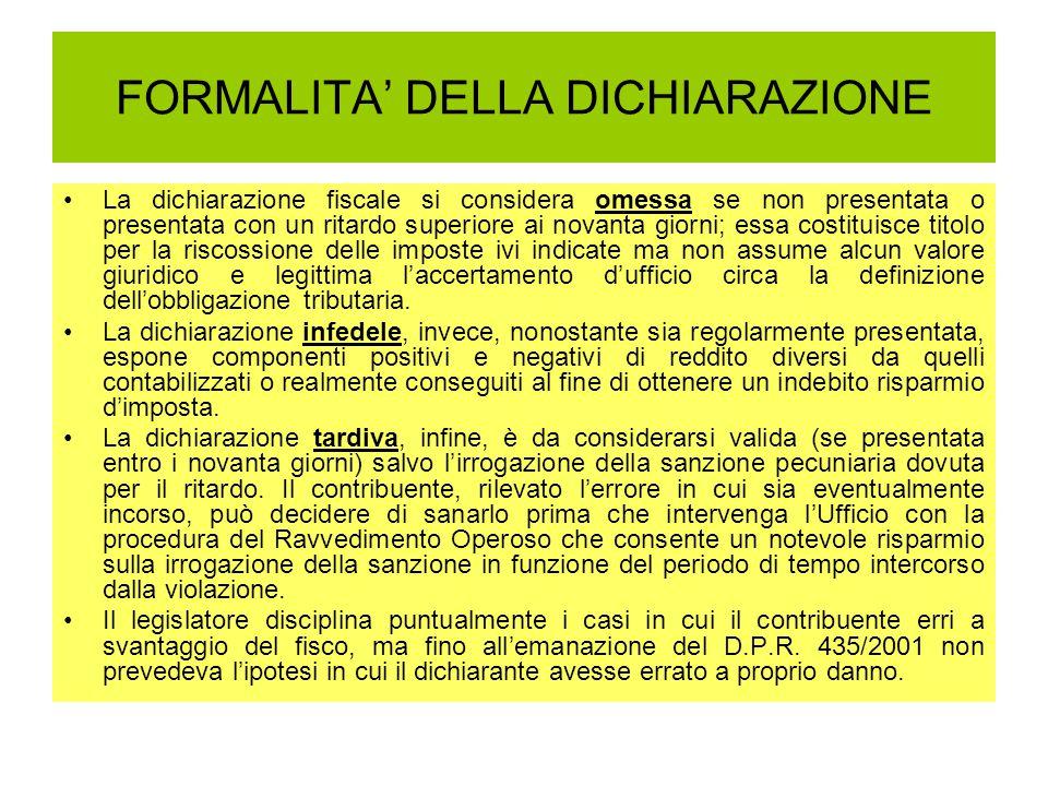 FORMALITA' DELLA DICHIARAZIONE