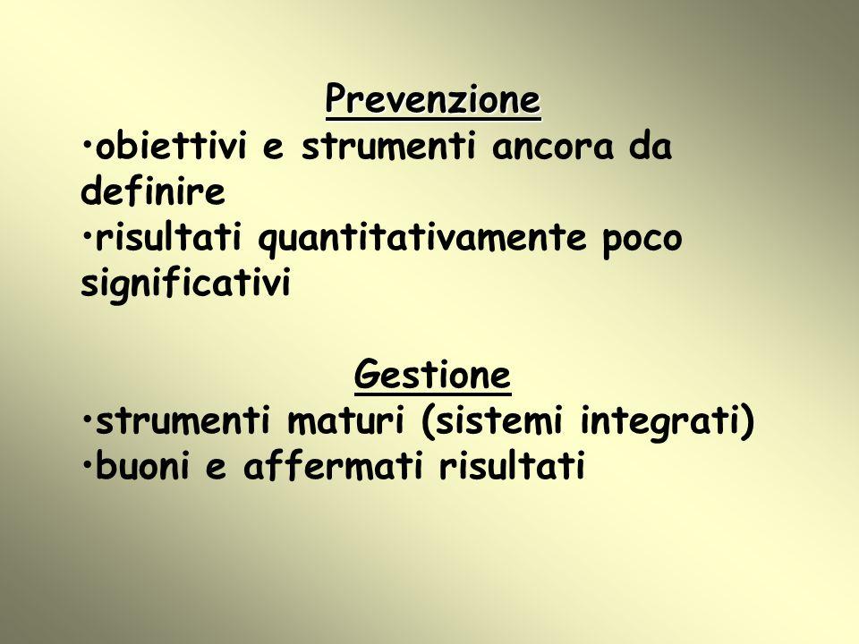 Prevenzione obiettivi e strumenti ancora da definire. risultati quantitativamente poco significativi.