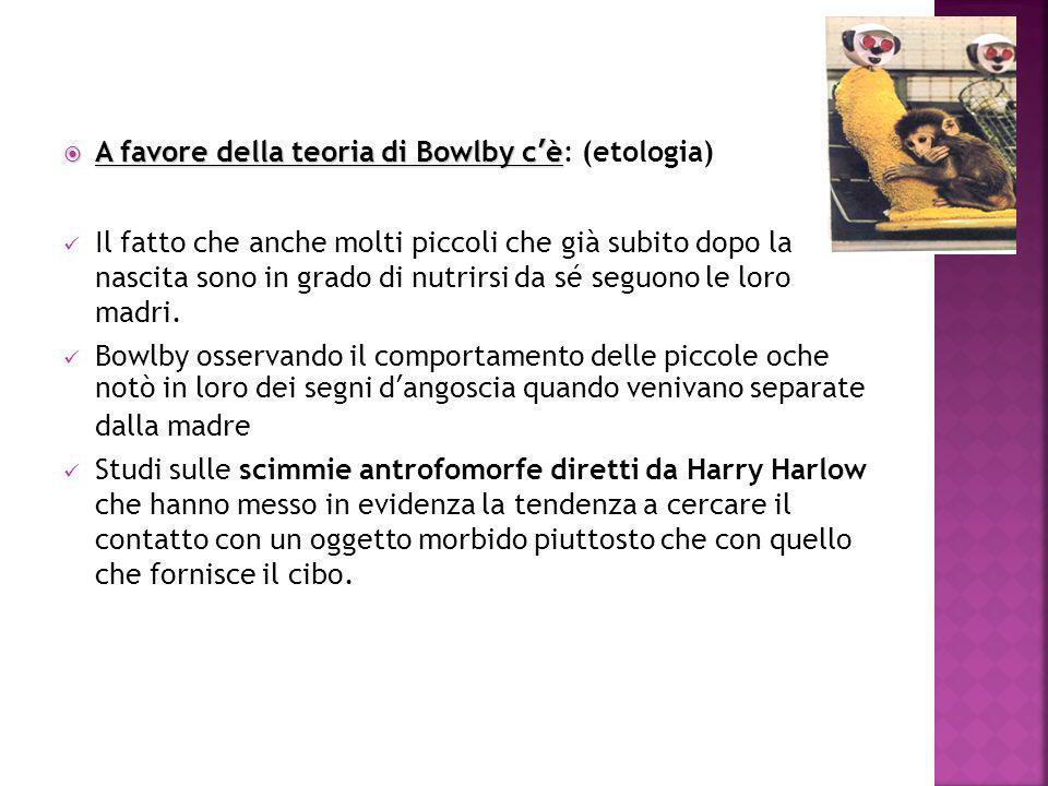 A favore della teoria di Bowlby c'è: (etologia)