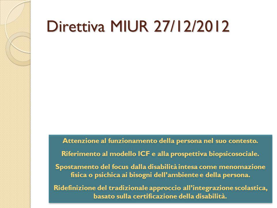 Direttiva MIUR 27/12/2012 Attenzione al funzionamento della persona nel suo contesto. Riferimento al modello ICF e alla prospettiva biopsicosociale.