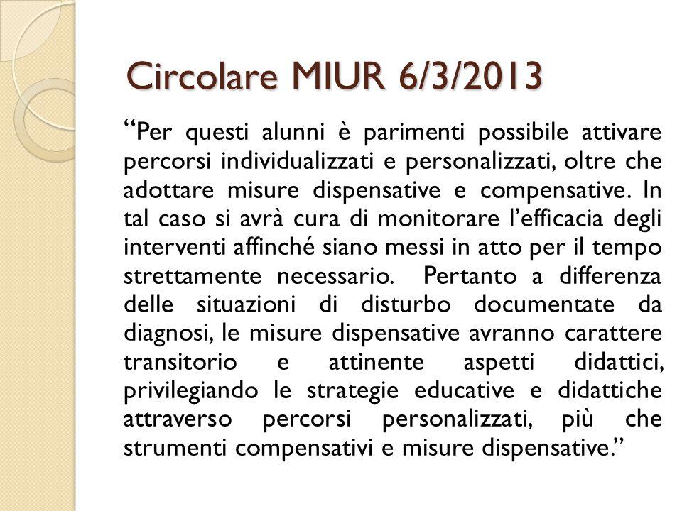 Circolare MIUR 6/3/2013