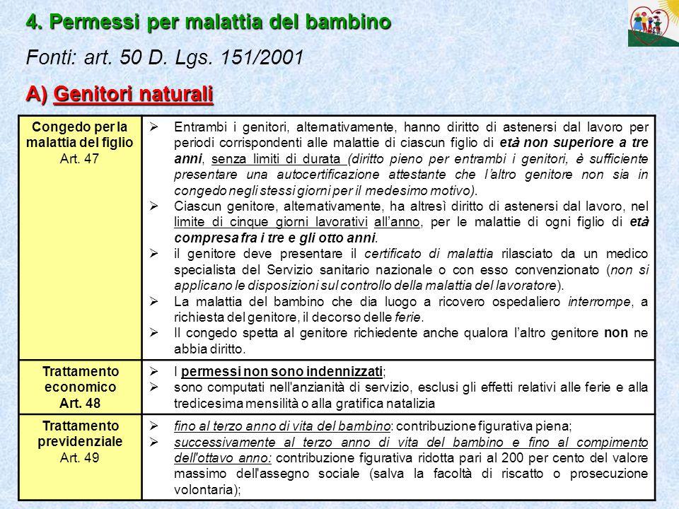 4. Permessi per malattia del bambino Fonti: art. 50 D. Lgs