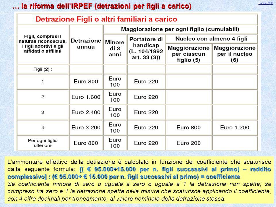 … la riforma dell'IRPEF (detrazioni per figli a carico)