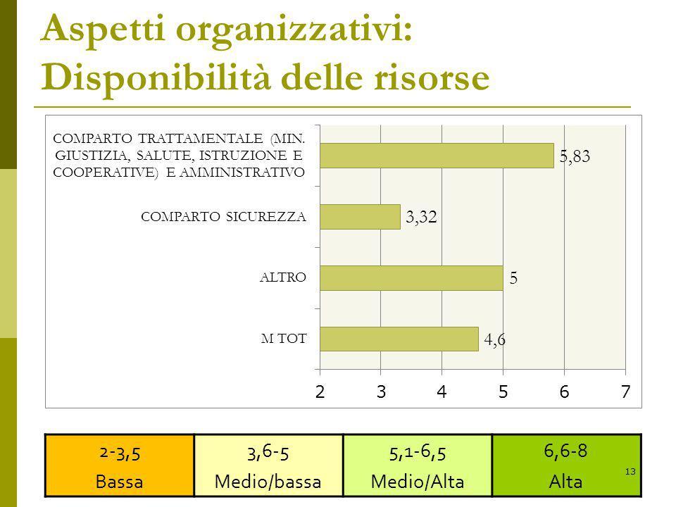 Aspetti organizzativi: Disponibilità delle risorse