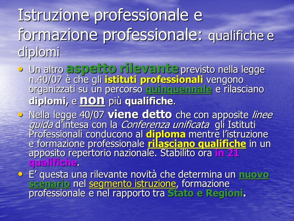 Istruzione professionale e formazione professionale: qualifiche e diplomi
