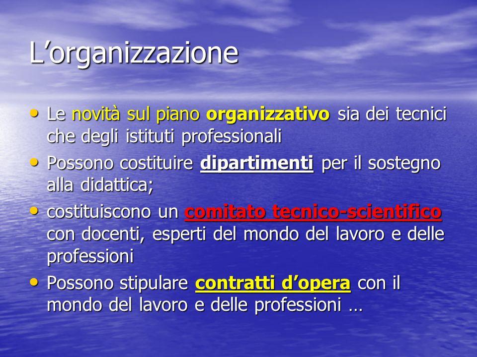 L'organizzazione Le novità sul piano organizzativo sia dei tecnici che degli istituti professionali.