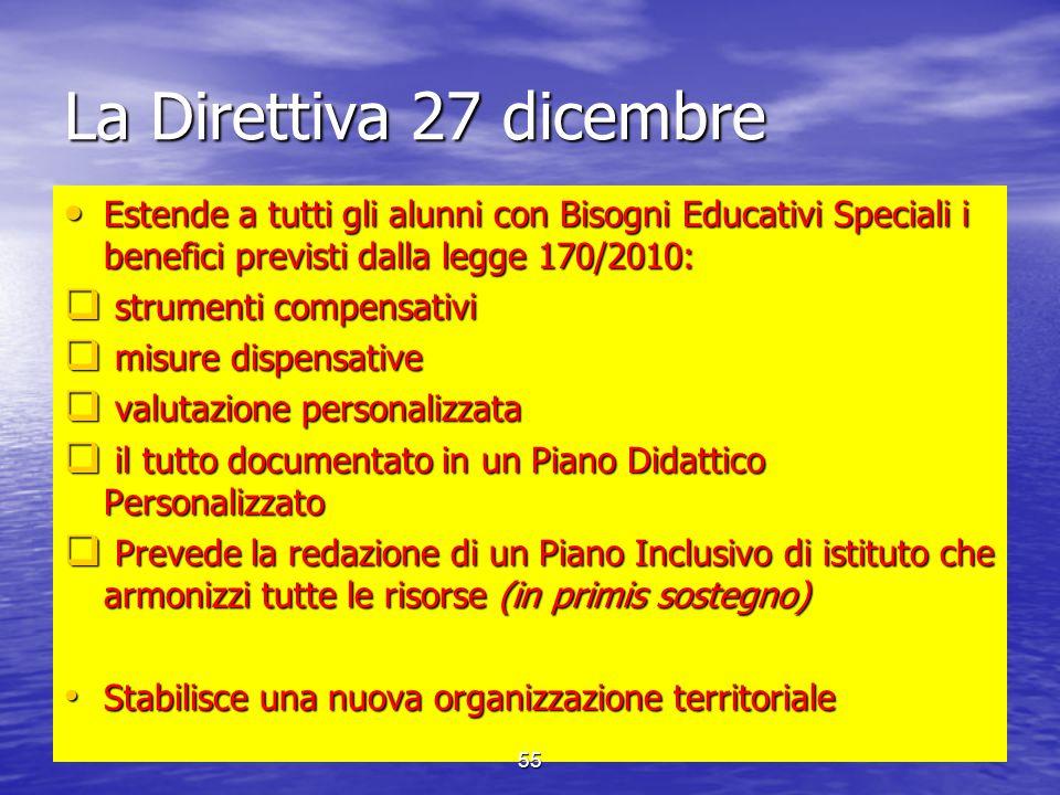 La Direttiva 27 dicembre Estende a tutti gli alunni con Bisogni Educativi Speciali i benefici previsti dalla legge 170/2010: