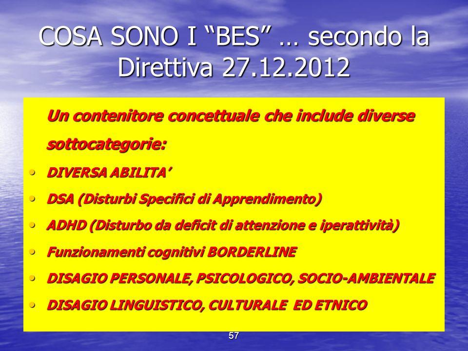 COSA SONO I BES … secondo la Direttiva 27.12.2012