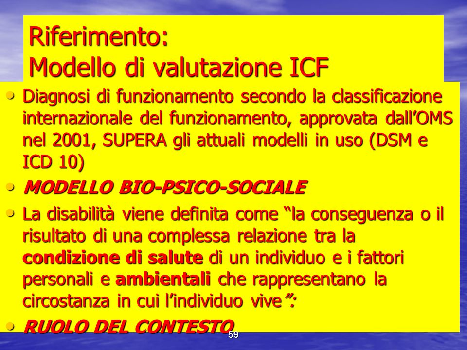 Riferimento: Modello di valutazione ICF