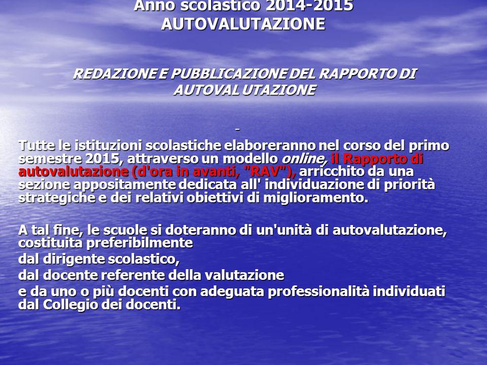Anno scolastico 2014-2015 AUTOVALUTAZIONE REDAZIONE E PUBBLICAZIONE DEL RAPPORTO DI AUTOVAL UTAZIONE
